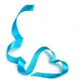 coração de fita azul